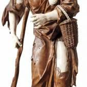 Troger, Simon (Attrib.) Bettlerin mit Weidenkorb (Abfaltersbach 1693-1768 München) Auf Natursockel und einen Gehstock gestützte alte Frau Schätzpreis:10.000 EUR