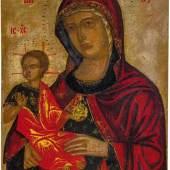 Bedeutende Ikone Madre della Consolazione Veneto-Kretisch, wohl Nikolaos Tzafouris, kurz vor 1500 Dünne Holztafel. Schätzpreis:8.000 - 9.000 EUR
