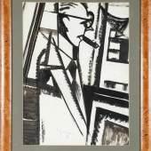 Hugo Scheiber (Budapest 1873-1950) Mann mit Zigarre Bilder betrachtend (Portrait of a Man with pictures), um 1930 Zeichnung Tuschepinsel auf Papier, 66 x 50 cm  Schätzpreis:2.600 EUR