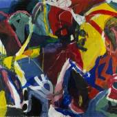 Voss, Jan.  1936 Hamburg - Paris Verdächtige Gestalten. Acryl/Lwd. und farbige Kreide. Sign. und dat. (19)89. 114 x 146 cm. Aufrufpreis:1.800 EUR