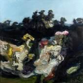 Fussmann, Klaus.  1938 Velbert Garten in Gelting. Öl/Lwd. Sign. und dat. (19)90. 120 x 120 cm. Gerahmt. Aufrufpreis:6.000 EUR