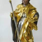 Bischof mit Stab Holz, vollplastisch geschnitzt, farbig und gold gefasst, um 1700. Mindestpreis:550 EUR