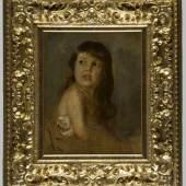 Lenbach, Franz Seraph von.  1836 Schrobenhausen - München 1904 Fräulein Hendschel. Öl/Malkarton. Sign. und dat. 1885. 55 x 45 cm. Gerahmt. Aufrufpreis:5.000 EUR