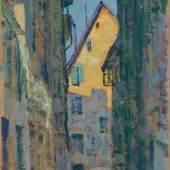 """Righini, Sigismund (Stuttgart 1870–1937 Zürich) """"Leuengasse"""", 1911. Öl auf Karton. Verso monogrammiert, bezeichnet und datiert. 23,5x17 cm. Schätzpreis:2.600 - 3.600 CHF"""