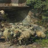 Zügel, Heinrich von.  1850 Murrhardt - München 1941 Frau mit einer Schafsherde. Öl/Lwd. Sign. und dat. (19)20. 49,5 x 71 cm. Aufrufpreis:1.500 EUR