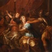 Niederlande, um 1700 Der Raub der Sabinerinnen. Öl/Holz. 83 x 61,5 cm. Gerahmt. Restauriert.  Aufrufpreis:2.300 EUR
