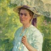 Arthur Siebelist (Loschwitz/Dresden 1870 - Hittfeld/Hamburg 1945) Gertrud, die Frau des Künstlers mit Sonnenschirm 1903, Öl/Lw., 93,5 x 72,5 cm  Mindestpreis:9.000 EUR