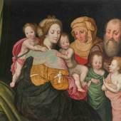 Sellaer, Vincent (um 1490 Mecheln 1564) Werkstatt Die Heilige Sippe: Maria Kleophae und ihre Familie. Öl auf Holz. 96,7x125,5 cm. - Restauriert und parkettiert. Schätzpreis:30.000 - 50.000 CFH