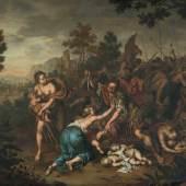 Mieris, Willem van (1662 Leiden 1747) Der Kindermord zu Bethlehem. Wohl 1696. Öl auf Holz. Unten links signiert. Verso nummeriert 339 und Wachssiegel. 37x47 cm. Schätzpreis:50.000 - 70.000 CHF