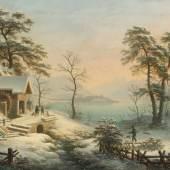 Winterlin, Anton (Degerfelden 1805–1894 Basel) Winterliche Ansicht von Feldbach gegen Rapperswil, 1847.  Schätzpreis:1.800 - 2.400 CHF