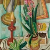 """Max Beckmann (Leipzig 1884 – 1950 New York) """"Stilleben mit brennender Kerze"""". 1921 Öl auf Leinwand. 50×35,6 cm ( 19 ⅝×14 in.). Schätzpreis:700.000 - 1.000.000 EUR Zuschlagspreis:2.500.000 EUR"""