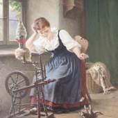 Hermann SONDERMANN (1832-1901), Mädchen mit Spinnrad und Katzen, Öl auf Leinwand, u.re. sign. und Ortsbez. Düsseldorf, Maße: ca. 49,5 x 40 cm, gerahmt, doubliert. Mindestpreis:1.700 EUR