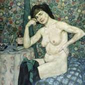 Durm, Leopold.  1878 - Karlsruhe - 1918 An einem Tisch sitzender weiblicher Akt mit Pfeife. Öl/Lwd. 115,5 x 99,5 cm. Gerahmt. Verso sign. Aufrufpreis:1.500 EUR