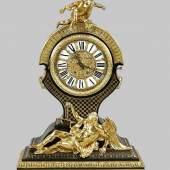 Große Boulle-Uhr , 2. H. 19. Jh., ebonisiertes und lackiertes Holz Mindestpreis:5.000 EUR