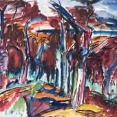 Peter August Böckstiegel Werther 1889 - 1951 ebenda Kirschbäume im Herbst Schätzpreis:3.000 - 4.000 EUR Zuschlagspreis:8.900 EUR