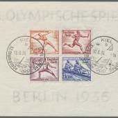 """Los 3267Olympische Spiele1936, Berlin, Olympia-Block 8/25 Pfg. ungezähnt mit SST """"KIEL 10.8.36 b""""Zuschlag: 14.000,- Euro, Ausruf: 5.000,- Euro"""