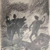 """Alfred KUBIN (1877-1959), Federzeichnung auf Papier, """"Nächtliches Treffen am Flussufer"""", u.re. sign., Maße: ca. 38 x 30 cm, Blatt rückseitig mit Ausschnitt einer gedruckten Landschaftskarte, hinter Glas im Passepartout gerahmt, Blatt leicht stockfleckig. Mindestpreis:3.000 EUR"""