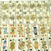 """Tarock Kartenspiel, Passau, um 1920. 52 Karten, Kupferstich, handkoloriert, die II bez. """"Von Michael Schatzberger bürgl Karten Fabriec. in Paßau"""" Aufrufpreis:250 EUR"""