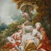 Fragonard, Jean-Honoré 1732 - 1806 La Coquette fixée, um 1755 Öl auf Leinwand. 55,9 x 45,7 cm. Schätzpreis:200.000 - 400.000 EUR