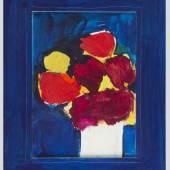 Koller, Oskar.  1925 Erlangen - Fürth 2004 Rote und gelbe Blumen in einer Vase. Mischtechn./Karton. Sign. und dat. (19)85. 45 x 32 cm. Gerahmt. Aufrufpreis:2.000 EUR