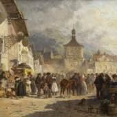 Schleich, Robert.  1845 - München - 1934 Markt in Bad Tölz. Öl/Holz. Sign. und dat. 1891. 22,5 x 41 cm. Gerahmt.  Aufrufpreis:4.000 EUR