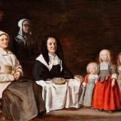 """Antoine le Nain, 1588 """""""" 1648 Paris DREI FRAUEN MIT DREI KINDERN, UM 1640 Öl auf Holz. 29,5 x 36,5 cm.  Schätzpreis:160.000 - 220.000 EUR"""