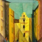 """Lyonel Feininger (1871 – New York – 1956) """"Gelbe Gasse"""" (auch """"Gasse I"""", """"Yellow Lane""""). 1932 Öl auf Leinwand. 100×80 cm ( 39 ⅜×31 ½ in.).  Schätzpreis:1.000.000 - 1.500.000 EUR Zuschlagspreis:3.000.000 EUR"""