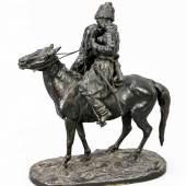 Evgeni Alexandrovich Lanceray (1848-1886), russischer Bildhauer, Schüler von N.I. Lieberich. Figurengruppe 'Der Abschiedskuss - Kosakenpaar zu Pferd Mindestpreis:4.200 EUR