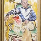 Duncan Grant, Portrait eines Mannes mit Katze, Schätzpreis:3.500 - 4.000 EUR