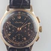 Herrenarmbanduhr - Breitling Schaltrad-Chronograph in Gelbgold 750/000, 1940-50er Jahre Aufrufpreis:2.100 EUR