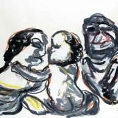"""Karel Appel 1921 Amsterdam - 2006 Zürich Gouache auf Papier, 1984; H 900 mm, B 1190 mm; signiert und datiert u. r. """"appel 1984""""; Wasserzeichen links """"Canson & Montgolfier"""";  Schätzpreis:10.000 - 12.000 EU"""