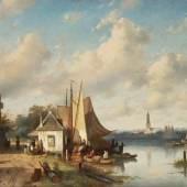 Charles Leickert 1816 Brüssel - 1907 Mainz Belebte Flusslandschaft in Holland Schätzpreis:7.000 - 9.000 EUR Zuschlagspreis:9.000 EUR