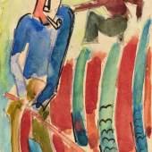Karl Schmidt-Rottluff (Rottluff 1884 - 1976 Berlin)  Künstlerpostkarte 'Gärtner', 1922, Schätzpreis:25.000 - 30.000 EUR