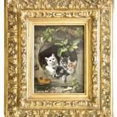 Adam, Julius (München 1821 - 1874). Vier Katzen. Öl auf Holz, um 1860. Oben links signiert. 19,5 x 14 cm. Im breiten ornamentalen Goldrahmen. Schätzpreis:8.000 EUR
