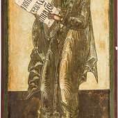 Seltene und große Ikone mit dem Propheten Gideon aus einer Kirchenikonostase Russland, 17. Jh. Verbund aus zwei Holztafeln mit zwei Rückseiten-Sponki (verloren). Kowtscheg, Schätzpreis:2.200 - 2.300 EUR