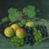 Rudolf Bartels (1872 Schwaan - 1943 Rostock) Stillleben mit Weintrauben und Äpfeln. Schätzpreis:6.200 - 6.800 EUR