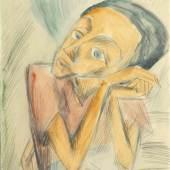 Dorothea Maetzel-Johannsen (Lensahn 1886 - Hamburg 1930) Expressionistisches Selbstportrait Aquarell und Bleistift, 35,5 x 27,5 cm Mindestpreis:2.300 EUR