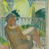 """Barraud, Maurice (1889 Genf 1954) """"Nu sur terrasse"""". Öl auf Leinwand."""