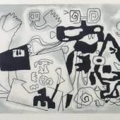 """Baumeister, Willi Stuttgart 1889 - 1955 ebenda, deutscher Maler, Grafiker, Bühnenbildner, Kunstpädagoge und Schriftsteller, Prof. an der Kunstschule Frankfurt a.M. und an der Akad. Stuttgart. """"Faust"""", Figurenkomposition, Lithographie/Papier, Mindestpreis:2.500 EUR"""