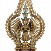 Imposanter Avalokiteshvara Tibet/Nepal, wohl 18./19. Jh., Bronze vergoldet, Mindestpreis:1.500 EUR