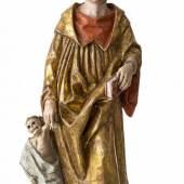 Hl. Fridolin (von Säckingen) Bayern, um 1490. Holz, übergangene Farbfassung. Rest., erg. H. 79 cm. Aufrufpreis:11.000 EUR