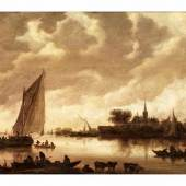 "Jan Jozefsz. van Goyen, 1596 Leiden """" 1656 Den Haag FLUSSLANDSCHAFT MIT SEGELBOOT Öl auf Holz. 64,6 x 96,3 cm. Schätzpreis:100.000 - 150.000 EUR"