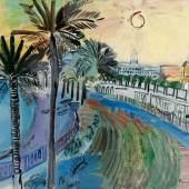 Raoul Dufy La Promenade des Anglais à Nice Öl auf Leinwand. (Ca. 1928). Ca. 38 x 46 cm. Signiert unten rechts. Mindestpreis:90.000 EUR Aufrufpreis:90.000 EUR Schätzpreis:100.000 - 150.000 EUR