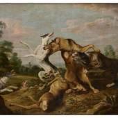 """Frans Snyders, 1579 Antwerpen """""""" 1657 ebenda Kampf DER WÖLFE UND HUNDE Öl auf Leinwand. Doubliert. 202 x 248 cm. Schätzpreis:100.000 - 150.000 EUR"""