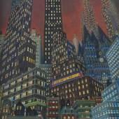 """Nägele, Reinhold Murrhardt 1884 - 1972 Stuttgart, Maler und Grafiker, Mitbegründer der Stuttgarter Sezession, 1952 Verleihung des Professorentitels. """"Wolkenkratzer New York"""", Mindestpreis:25.000 EUR"""