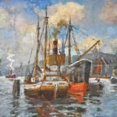 """DEKKERT Eugène (1865 Settin - 1956 Garmisch- Partenkirchen) """"Schiffe im Hafen"""", Mindestpreis:500 EUR"""