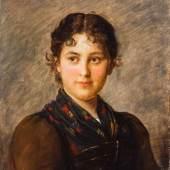 Franz von Defregger. 1835 Dölsach/Stronach - 1921 München. Sign. Portrait eines Bauernmädchens. Werk aus den 1890-er Jahren. Mindestpreis:4.800 EUR