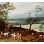 """Jan Brueghel d. J., 1601 """""""" 1678 WEITE HÜGELIGE LANDSCHAFT MIT RAST AUF DER LANDSTRAßE Öl auf Holz. 38,7 x 55,4 cm.  Schätzpreis:120.000 - 150.000 EUR"""