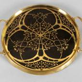 Tablett für Gläser, Erhard & Söhne, um 1910 Messing, Platte aus feinem exotischem Edelholz Schätzpreis:120 EUR