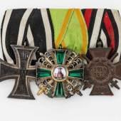 Baden Ordensspange mit drei Orden: Eisernes Kreuz 2. Klasse 1914, Orden vom Zähringer Löwen Ritterkreuz 2. Klasse, Frontkämpferkreuz. Mindestpreis:250 EUR